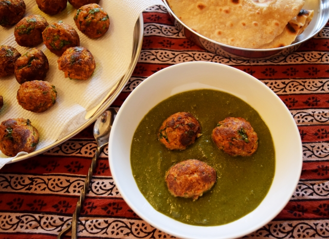 soy and veg koftas in spinach sauce