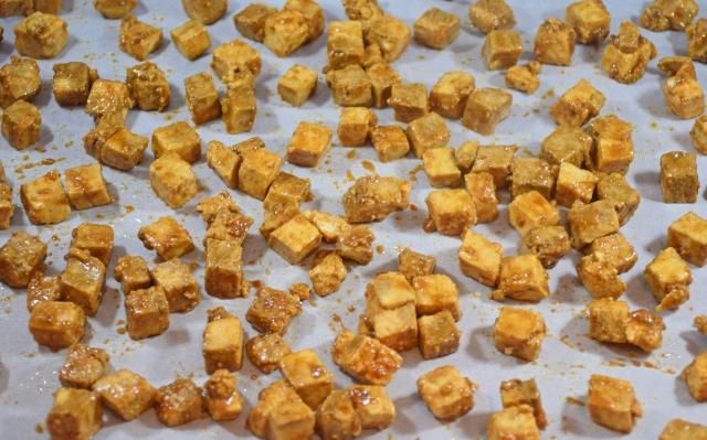 Tofu in baking tray